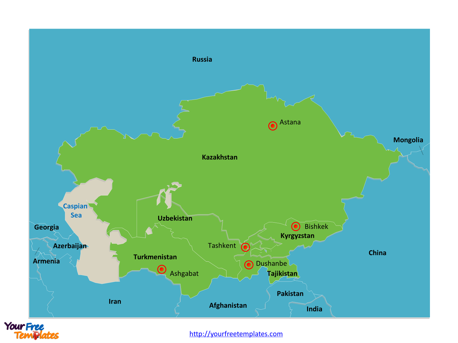 Free Central Asia and Caucasus Editable Map - Free PowerPoint Templates