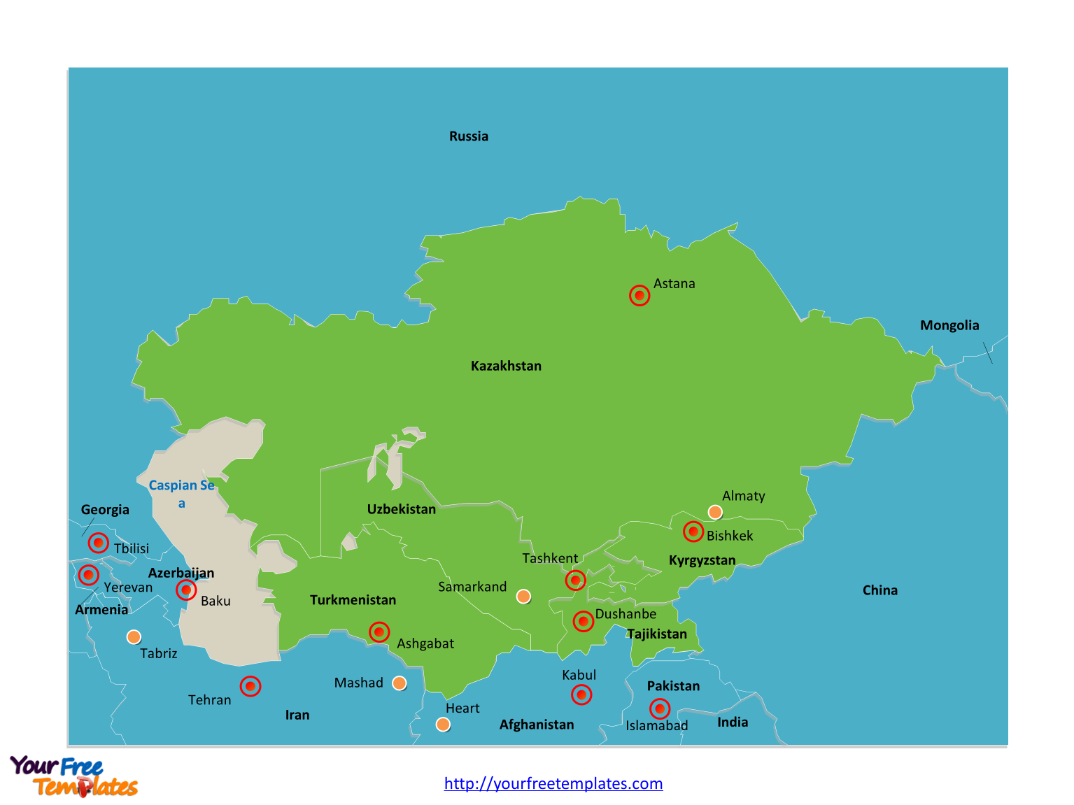 Free Central Asia And Caucasus Editable Map Free PowerPoint - Georgia map template