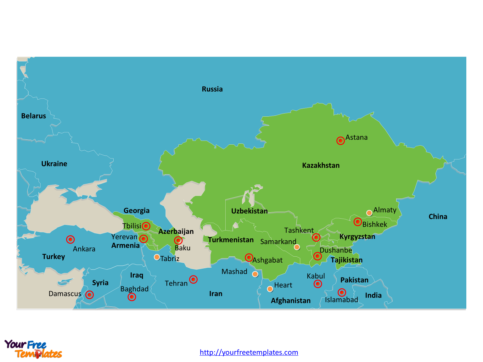 Free Central Asia And Caucasus Editable Map Free PowerPoint - Caucus map