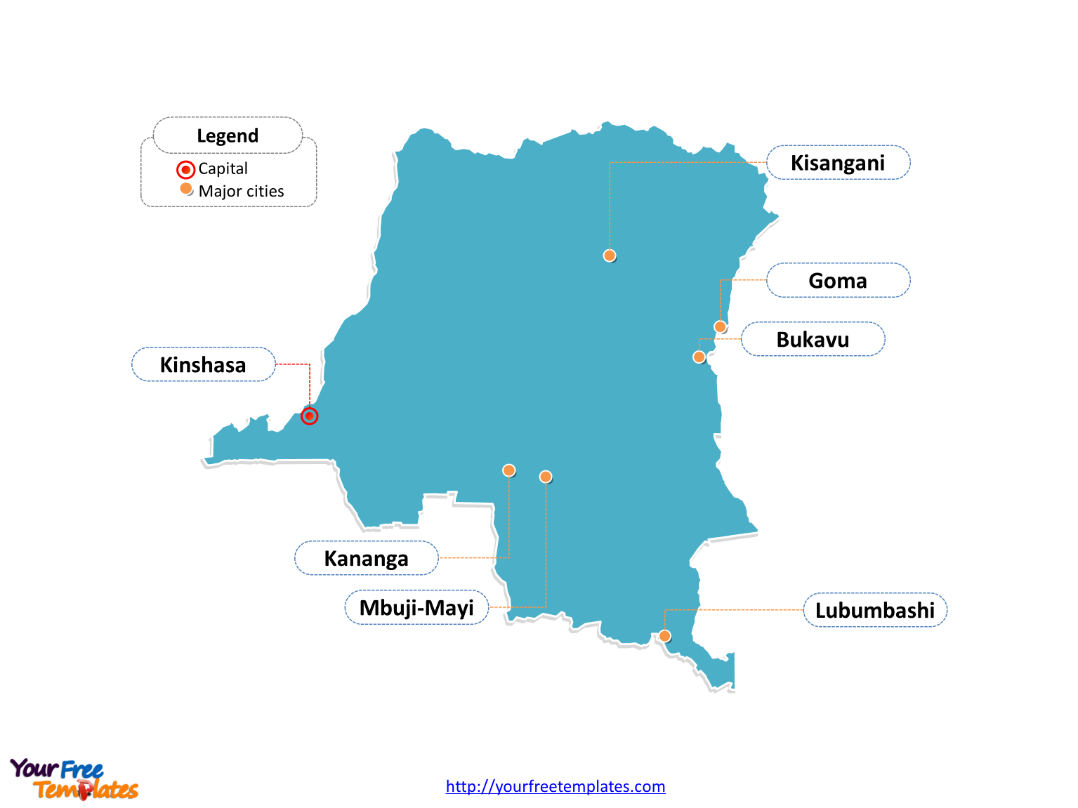 Congo Outline map labeled with cities