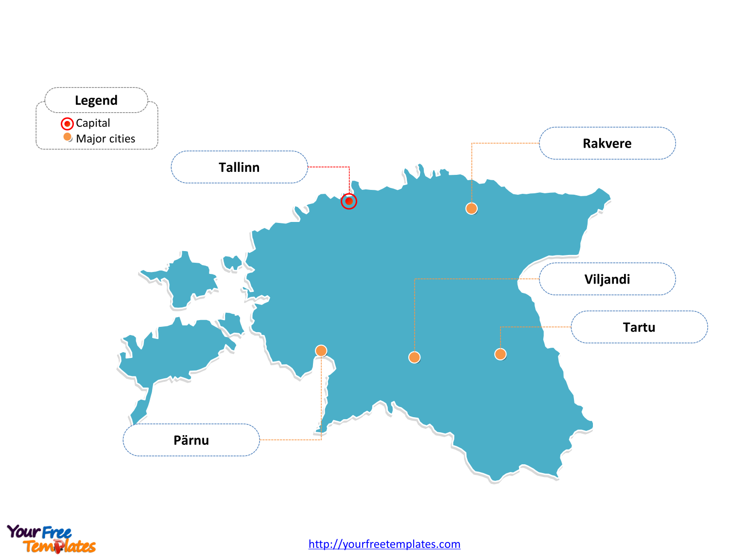 Free Estonia Editable Map Free PowerPoint Templates