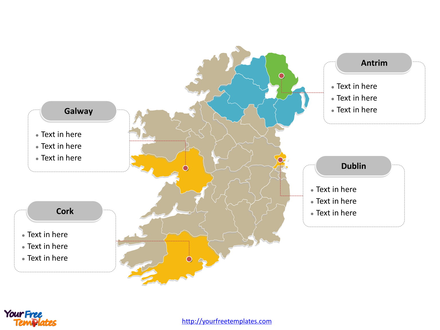 Blank Map Of Ireland Counties.Free Ireland Island Editable Map Free Powerpoint Templates