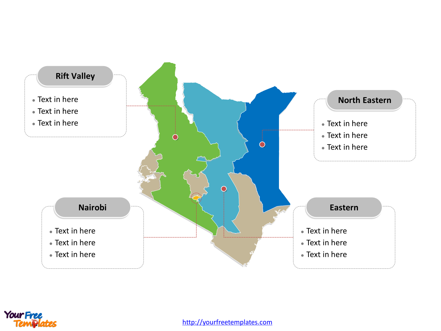 Kenya Political map labeled with major provinces