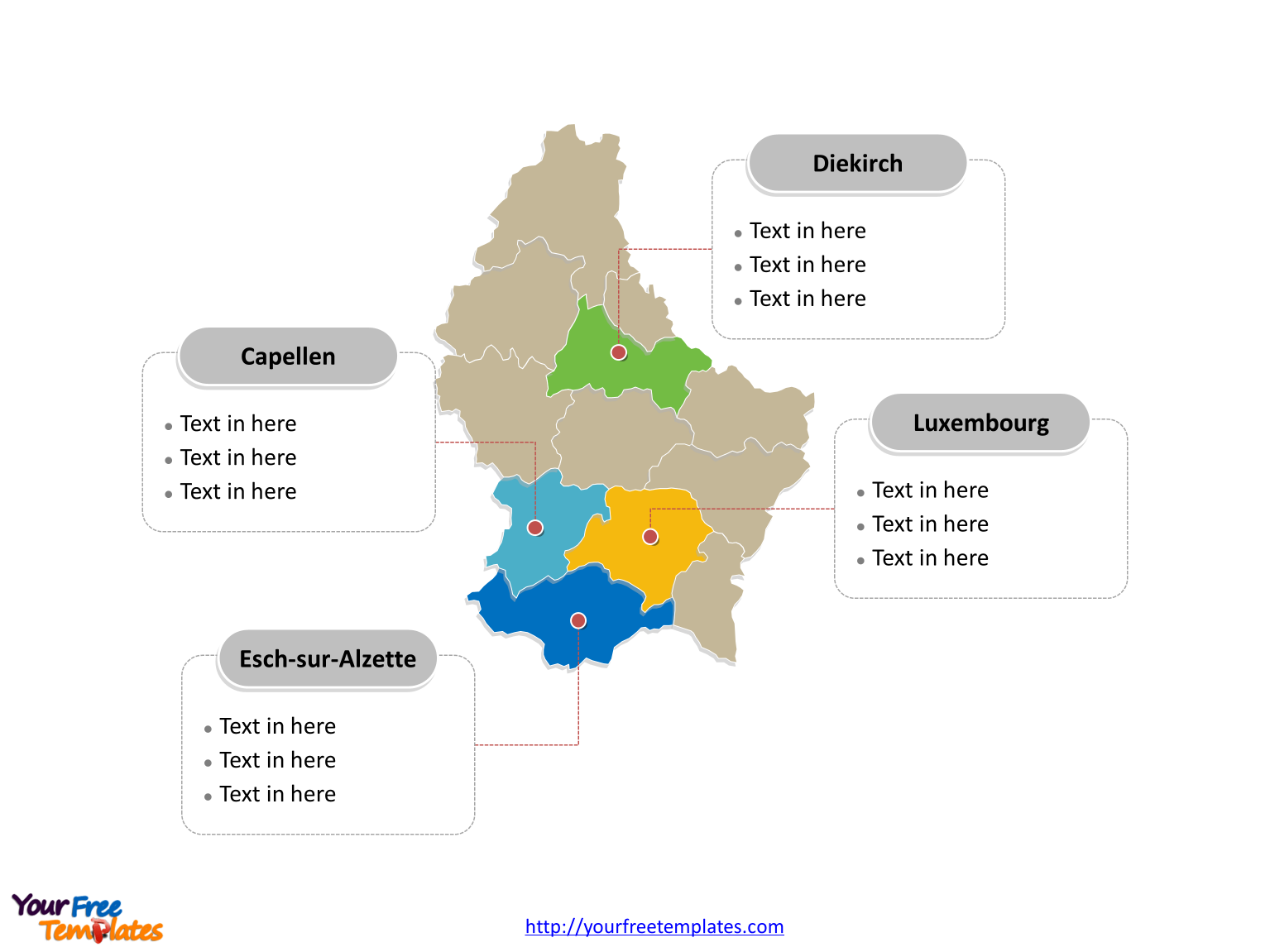 Free Luxembourg Editable Map Free PowerPoint Templates