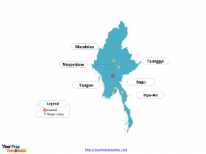 Myanmar Outline map labeled with cities