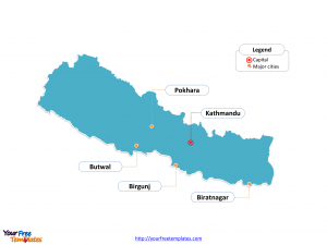 Nepal Outline map labeled with cities