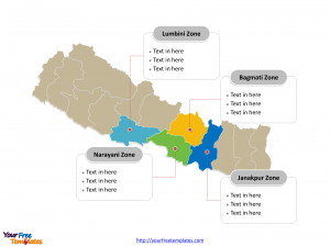Nepal political map labeled with major zones