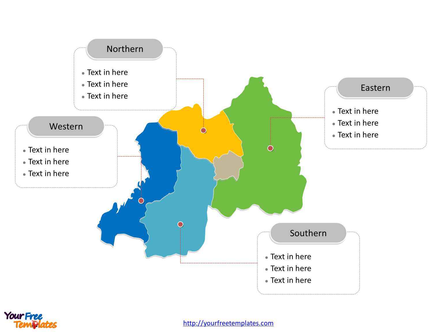 Rwanda Political map labeled with major provinces