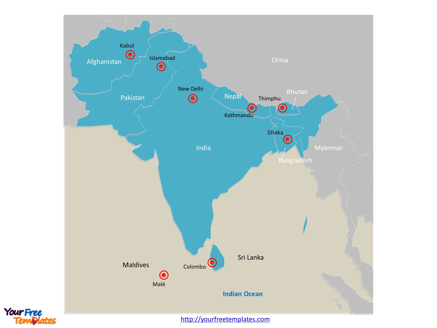 Map of South Asia with individual countries on the South Asia map free templates
