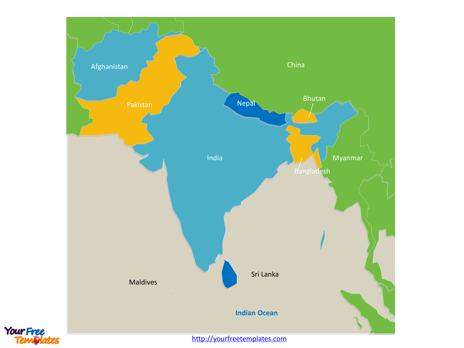 Map of South Asia with outline and cities labeled on the South Asia map free templates