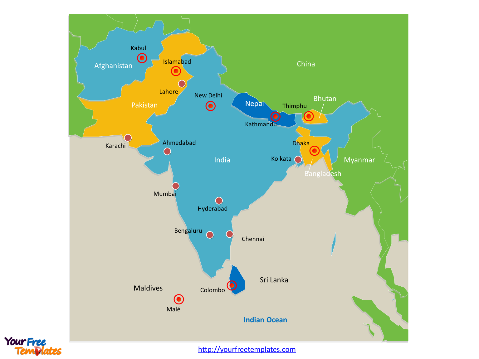 Map of South Asia with individual countries and major Countries labeled on the South Asia map free templates