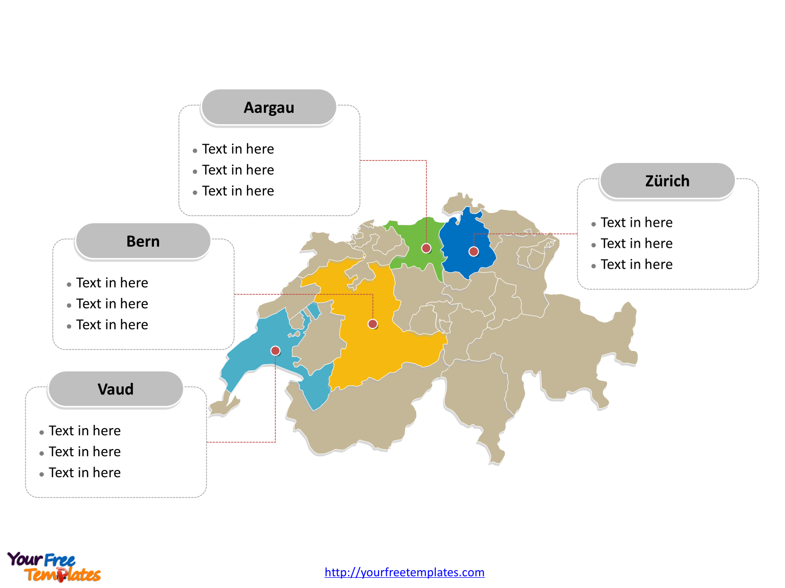 Free switzerland editable map free powerpoint templates switzerland political map labeled with major cantons gumiabroncs Gallery