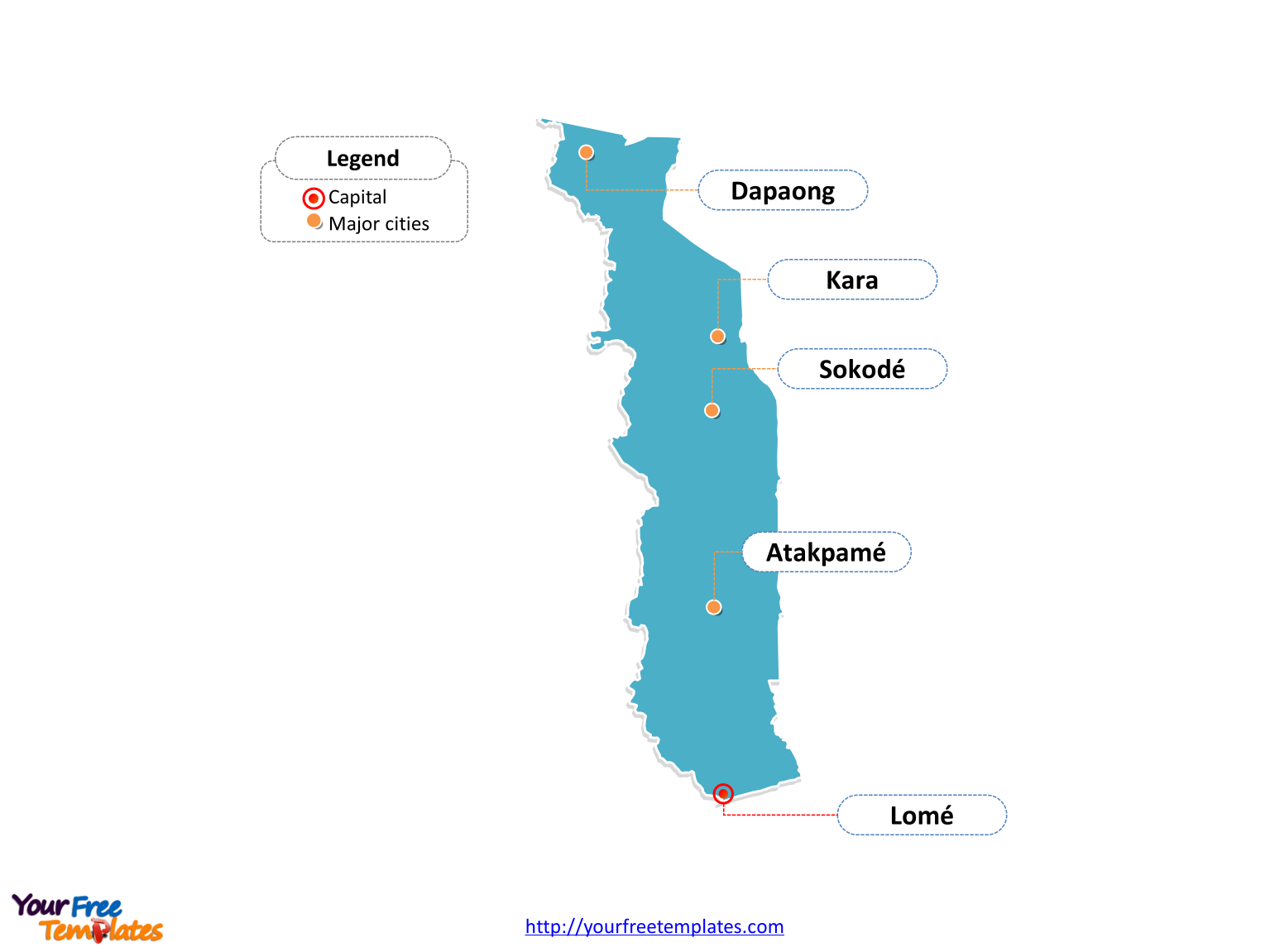 Free Togo Editable Map Free PowerPoint Templates - Togo map
