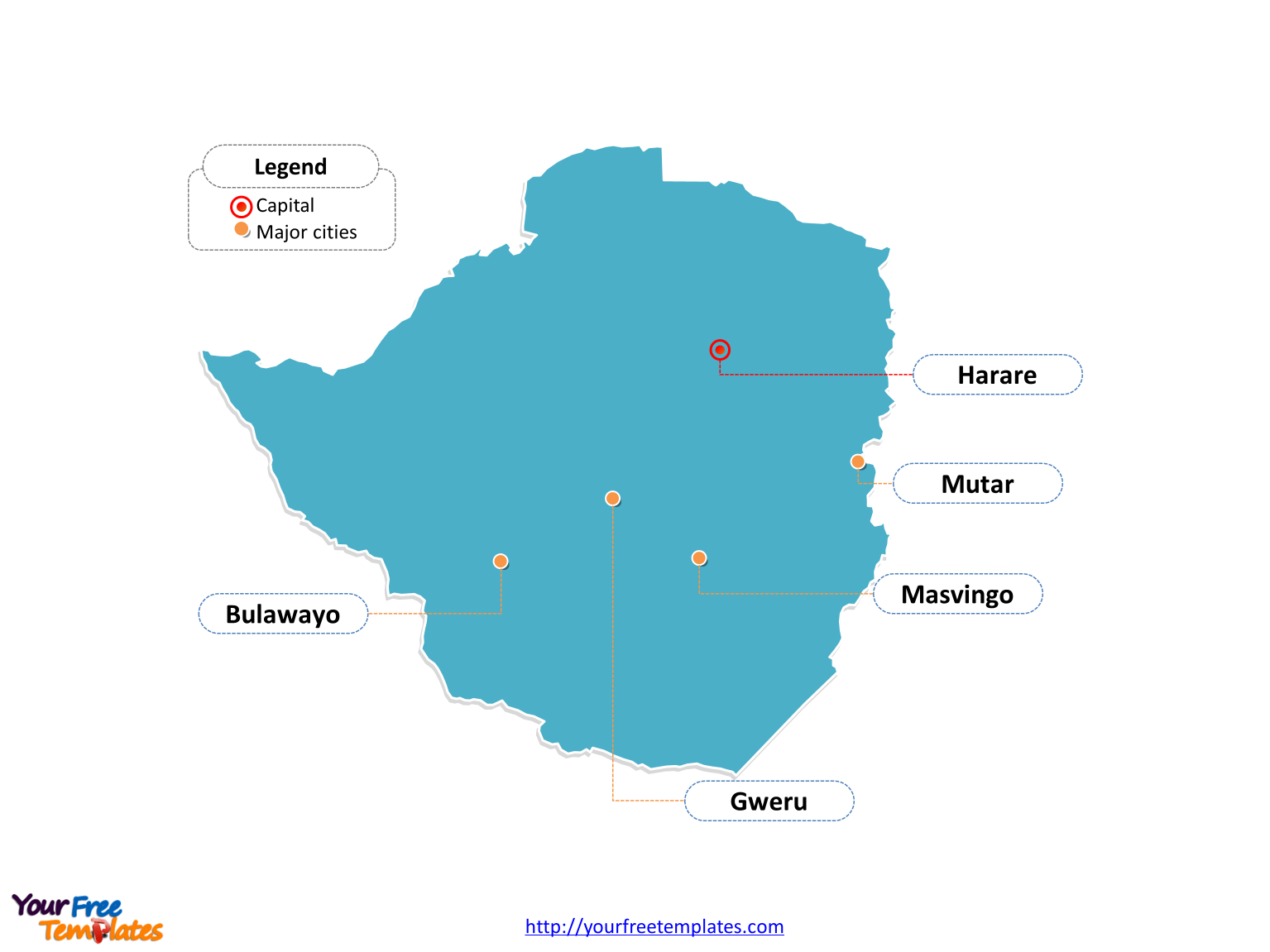 Free zimbabwe editable map free powerpoint templates zimbabwe outline map labeled with cities gumiabroncs Images