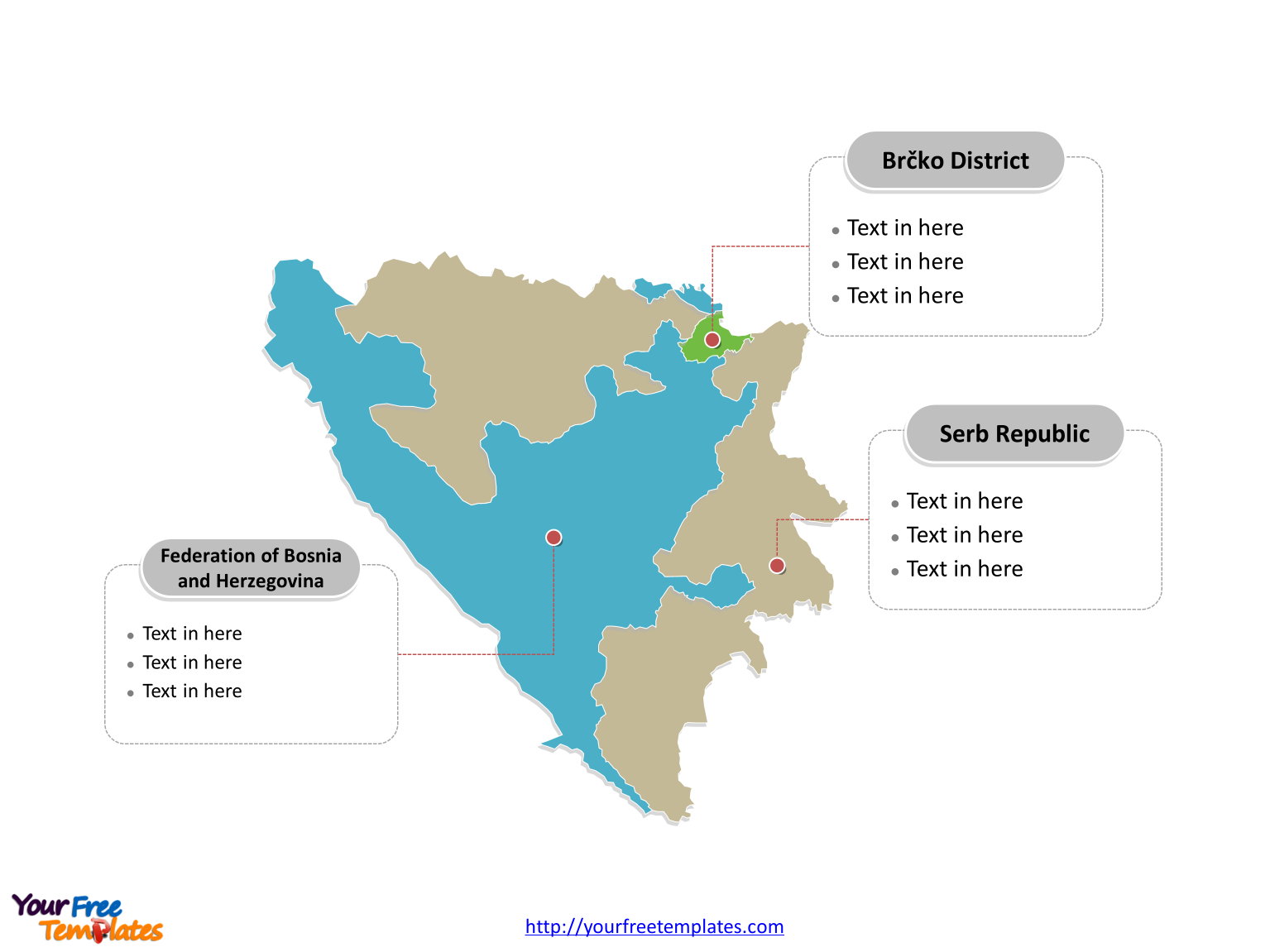 Free Bosnia And Herzegovina Editable Map Free PowerPoint Templates - Bosnia and herzegovina map