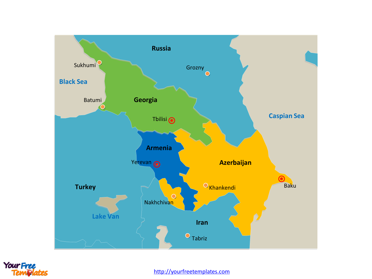 Map Of Georgia With Major Cities.Free Caucasus Editable Map Free Powerpoint Templates