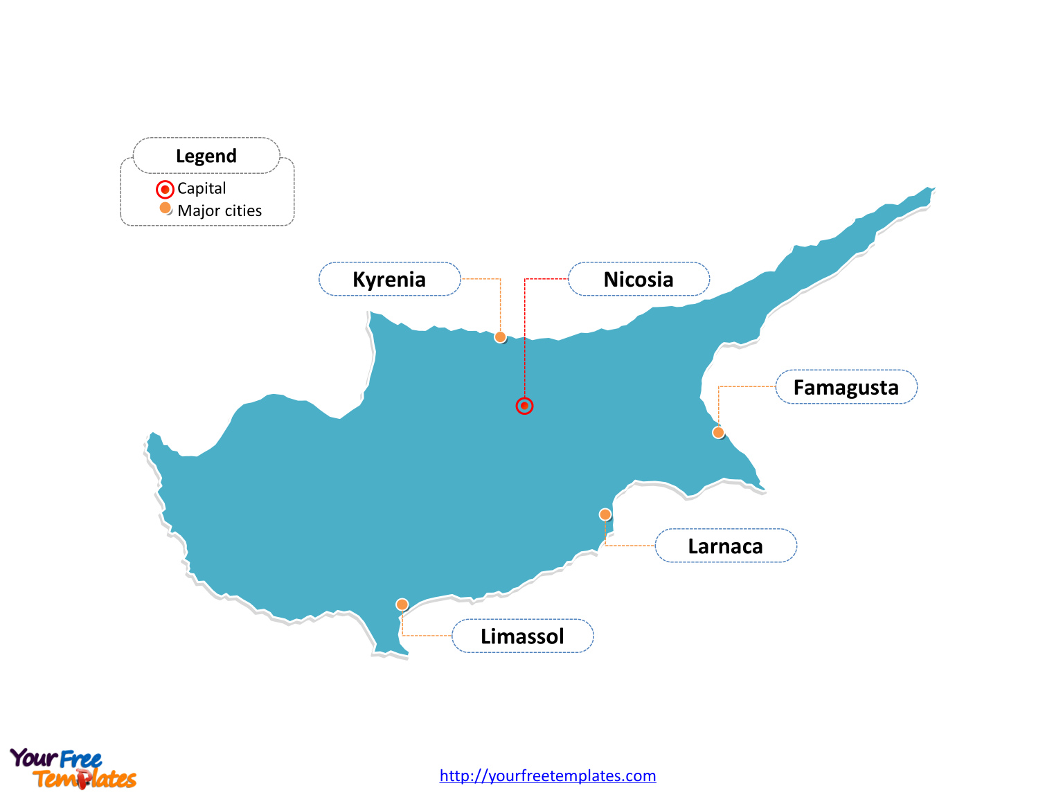 Free Cyprus Editable Map Free PowerPoint Templates - Cyprus map