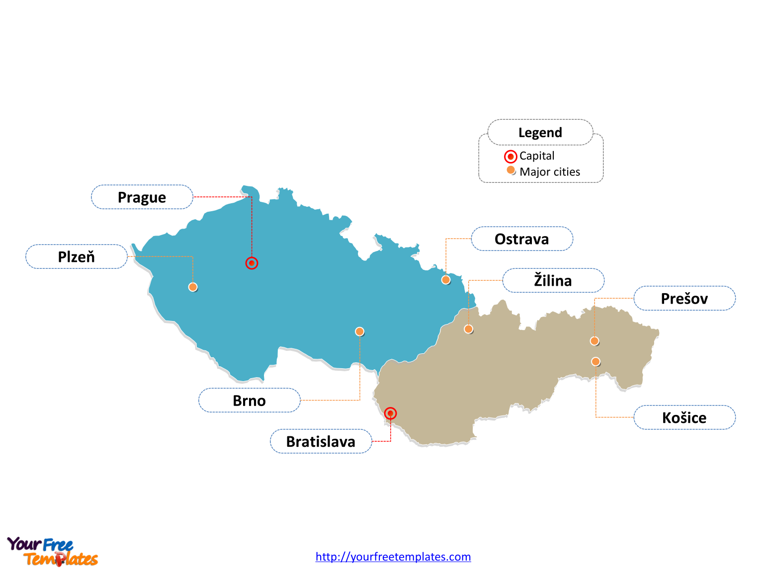 Czech Republic and Slovakia country Outline map labeled with capitals and major cities
