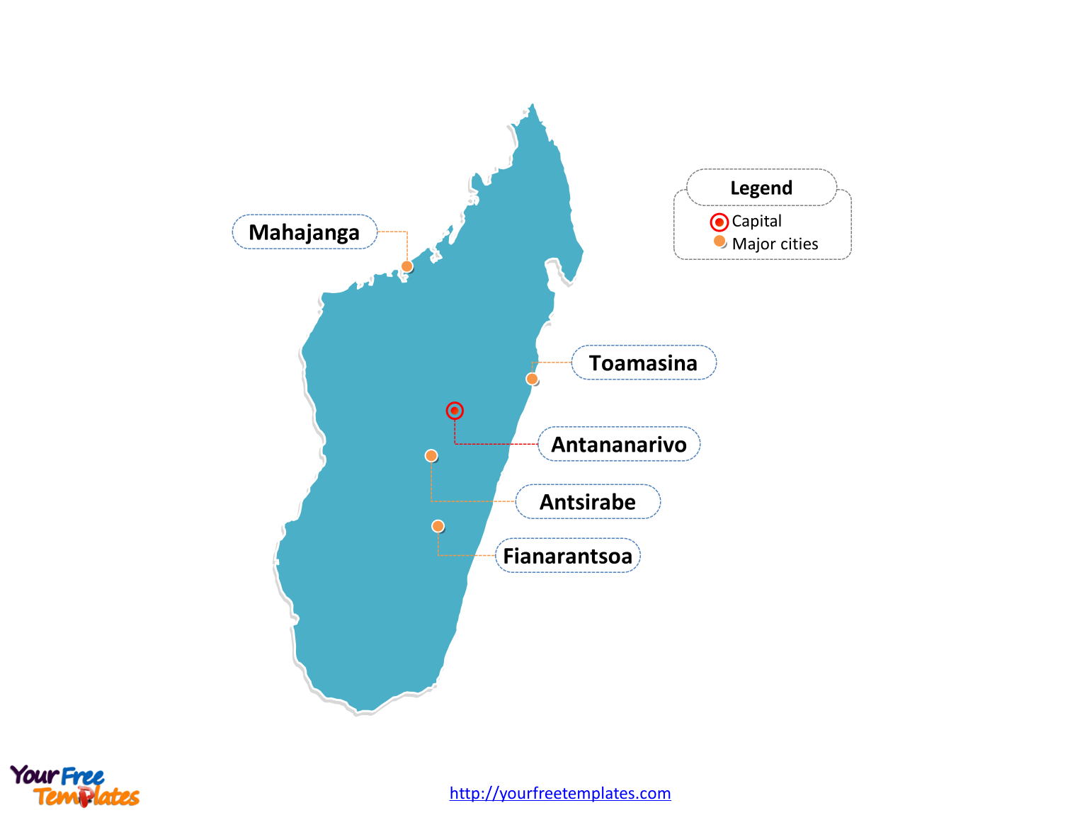 Free Madagascar Editable Map Free PowerPoint Templates - Madagascar map