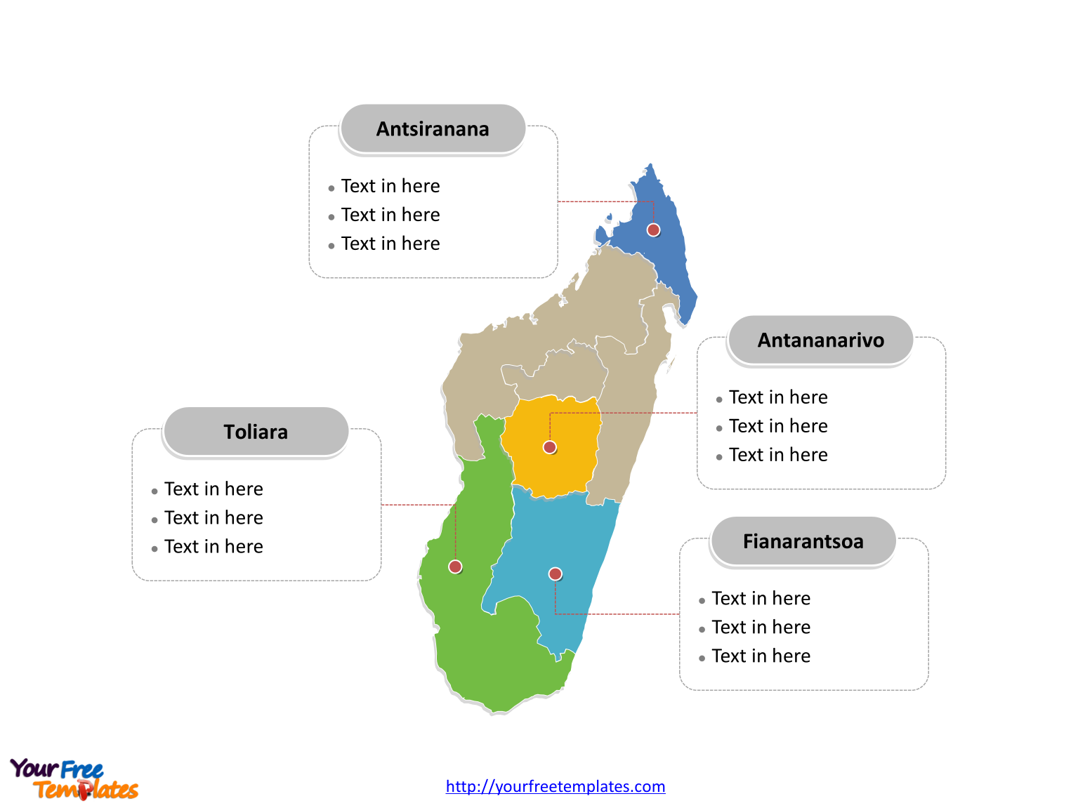Free Madagascar Editable Map Free PowerPoint Templates