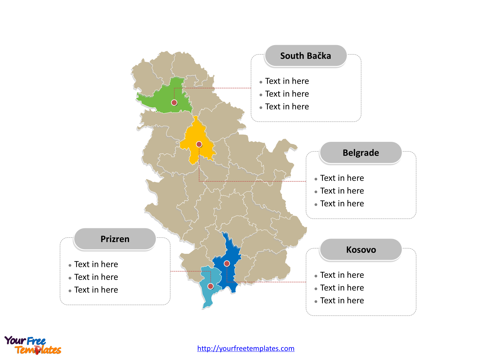 Free Serbia Editable Map Free PowerPoint Templates
