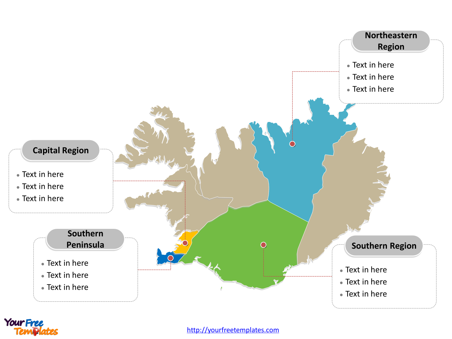 Free Iceland Map Template Free PowerPoint Templates