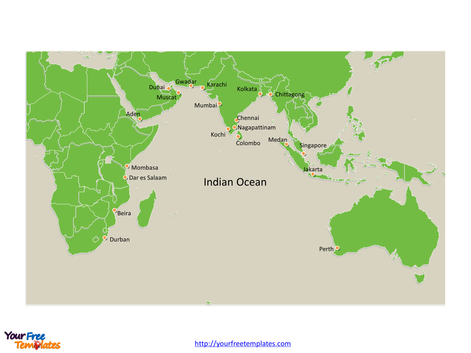 Indian Ocean map labeled major cities