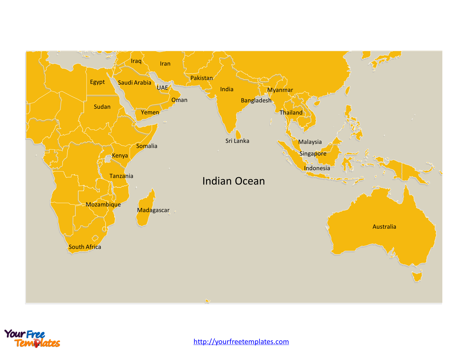 Free indian ocean map template free powerpoint templates indian ocean map labeled major country names gumiabroncs Images
