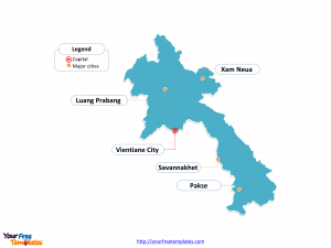 Laos Outline map labeled with cities