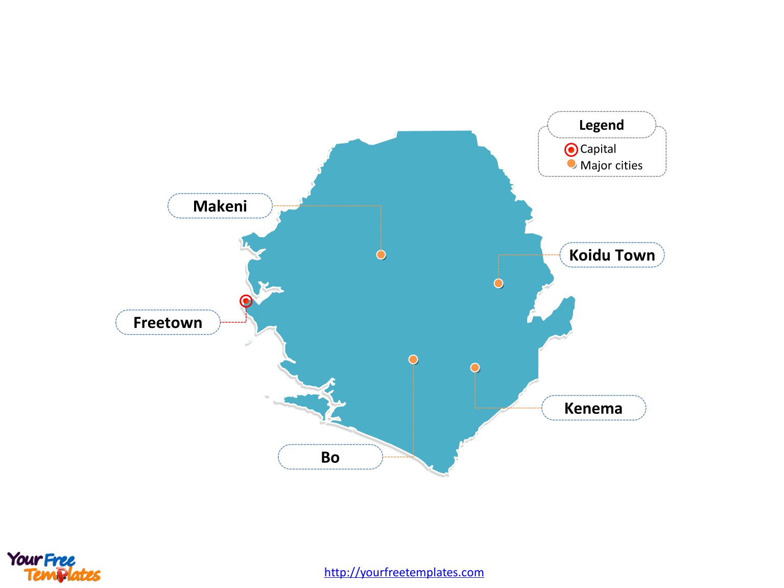 Sierra Leone Editable map labeled with cities