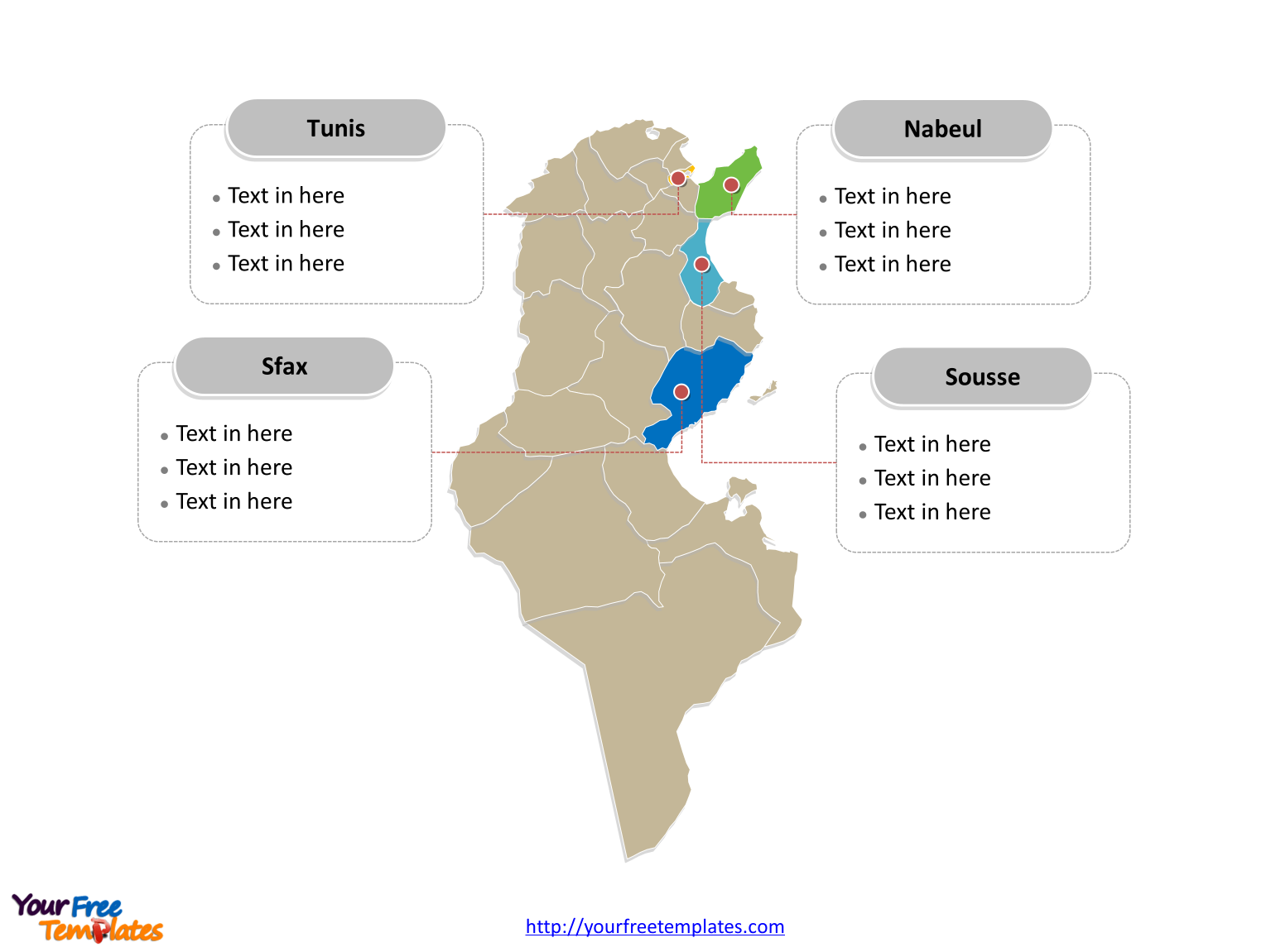 Free Tunisia Editable Map Free PowerPoint Templates - Tunisia country political map