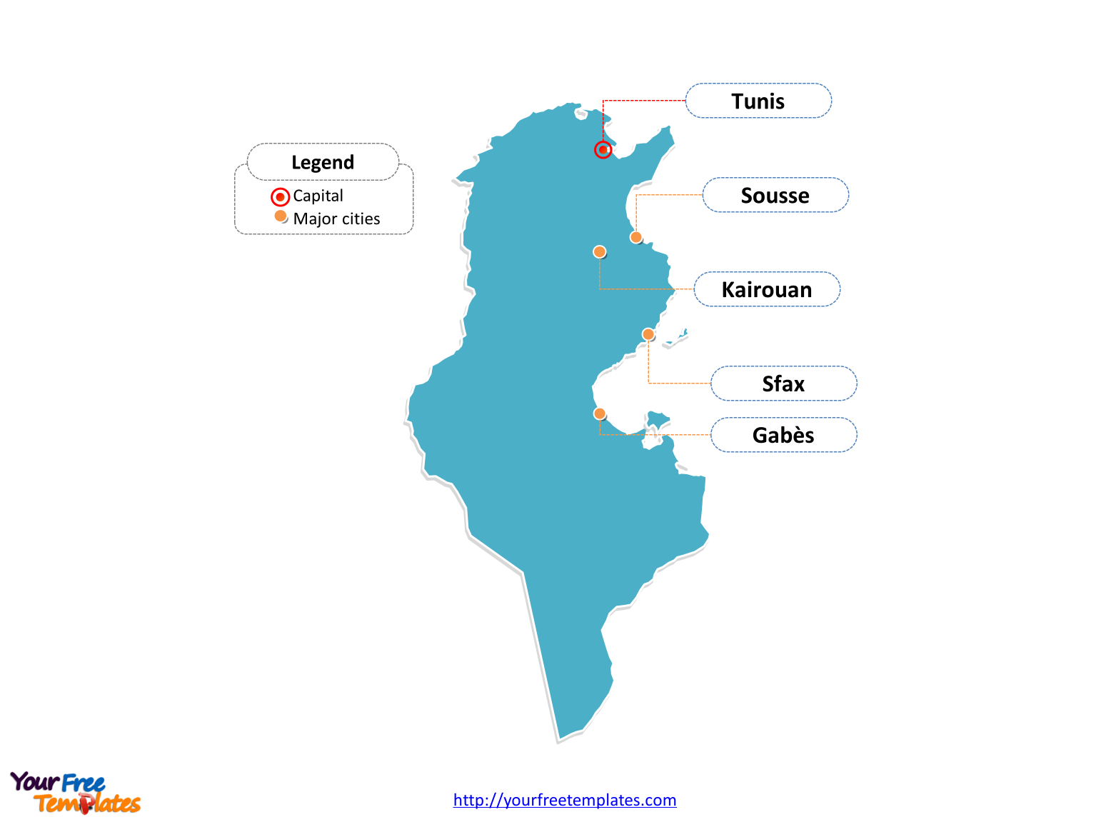Free Tunisia Editable Map Free PowerPoint Templates