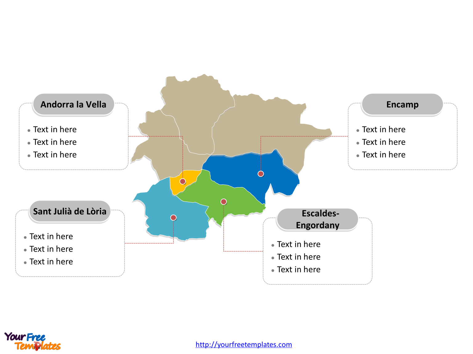 Free Andorra Map Template Free PowerPoint Templates