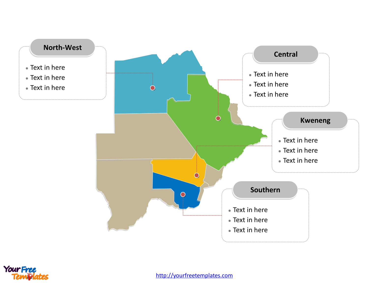 Free Botswana Map Template Free PowerPoint Templates