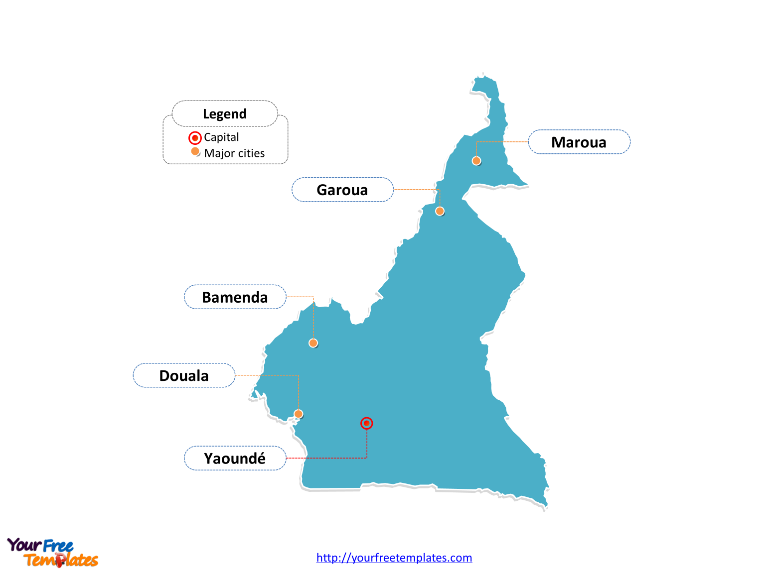 Free Cameroon Map Template Free PowerPoint Templates