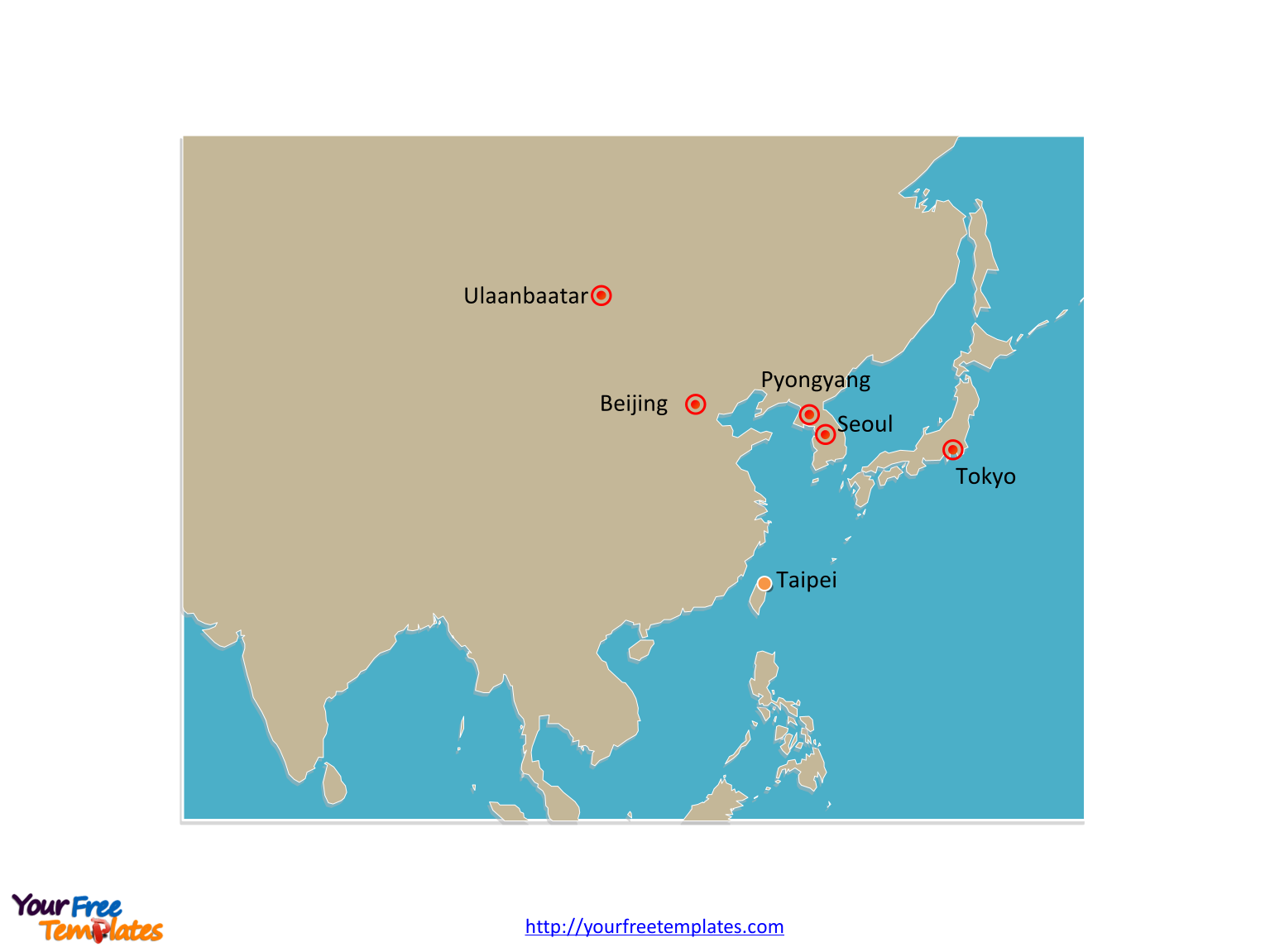 Outline Map Of Asia Labeled.Free East Asia Map Template Free Powerpoint Templates