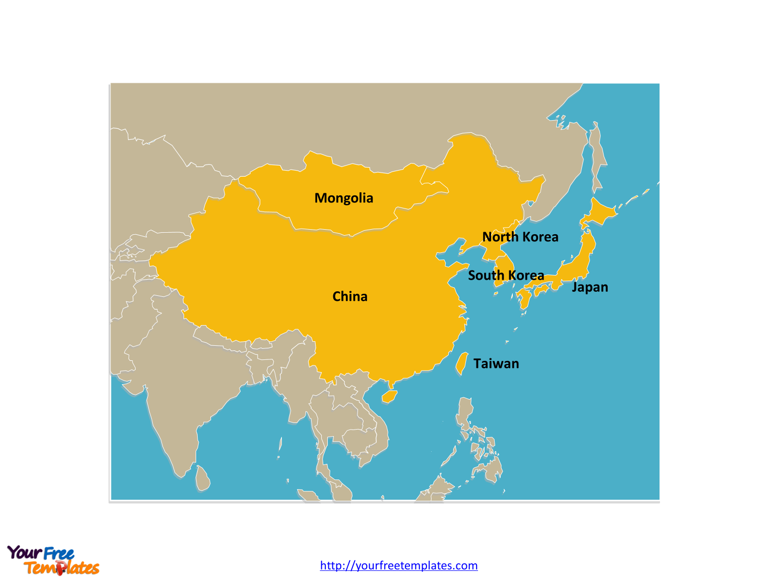 Free East Asia Map Template Free PowerPoint Templates - Japan map labeled