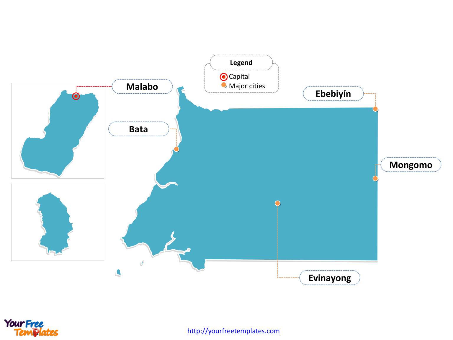 Free Equatorial Guinea Map Template Free PowerPoint Templates