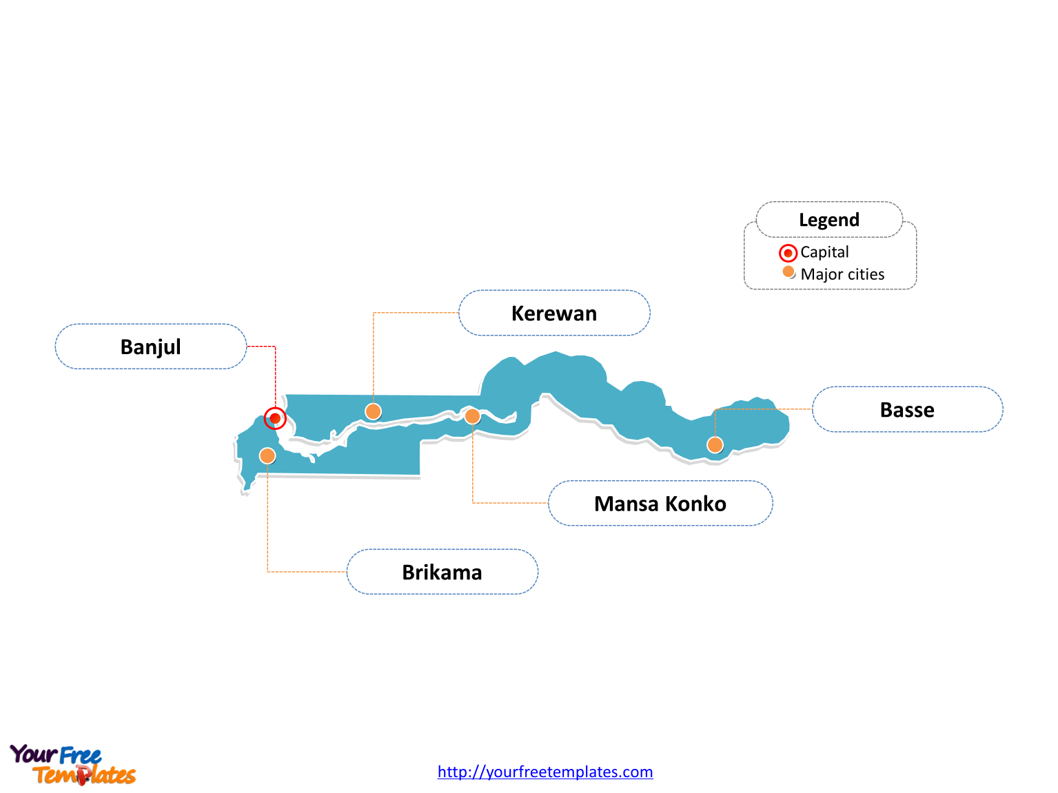 Free Gambia Map Template Free PowerPoint Templates - Gambia map