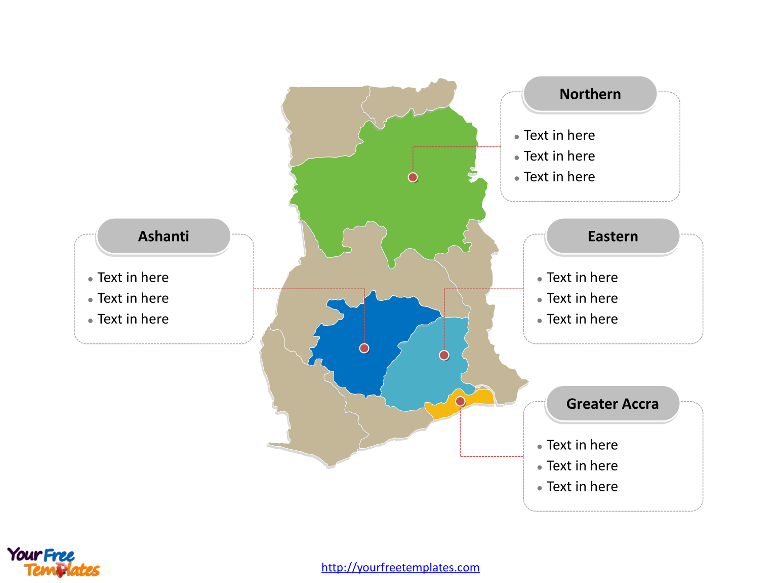Free Ghana Map Template - Free PowerPoint Templates