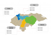 Honduras map labeled with major political departments
