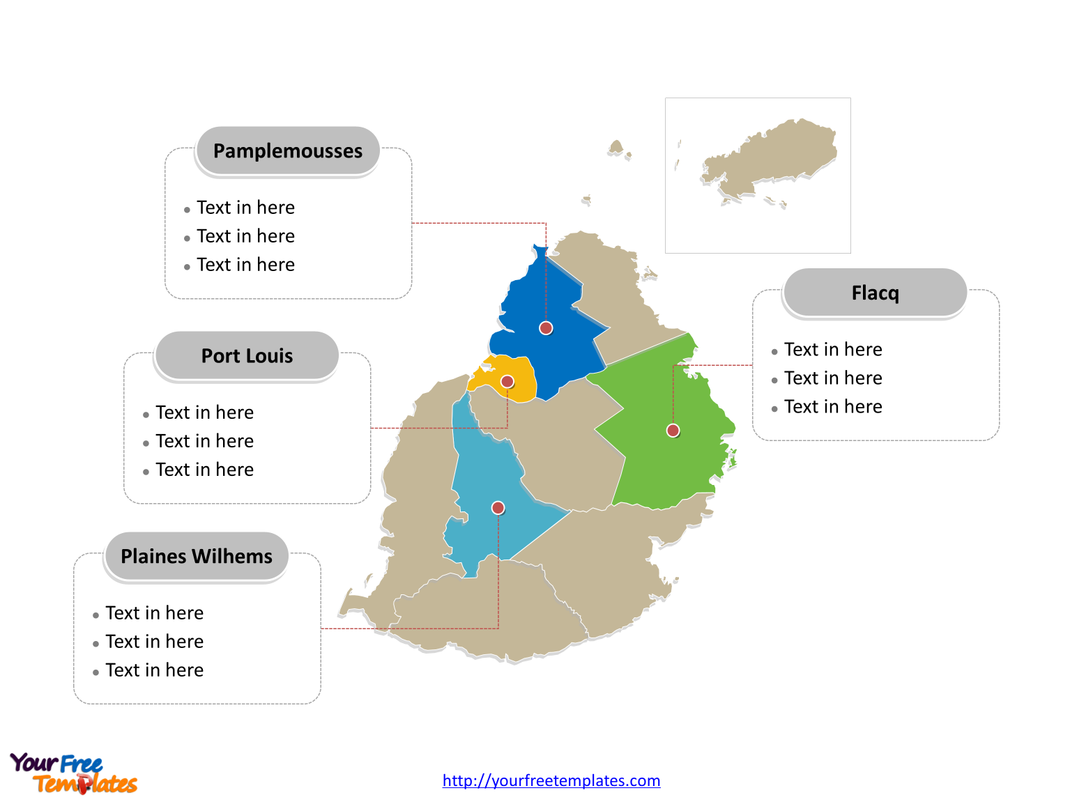 Free Mauritius Map Template Free PowerPoint Templates - Political map of mauritius