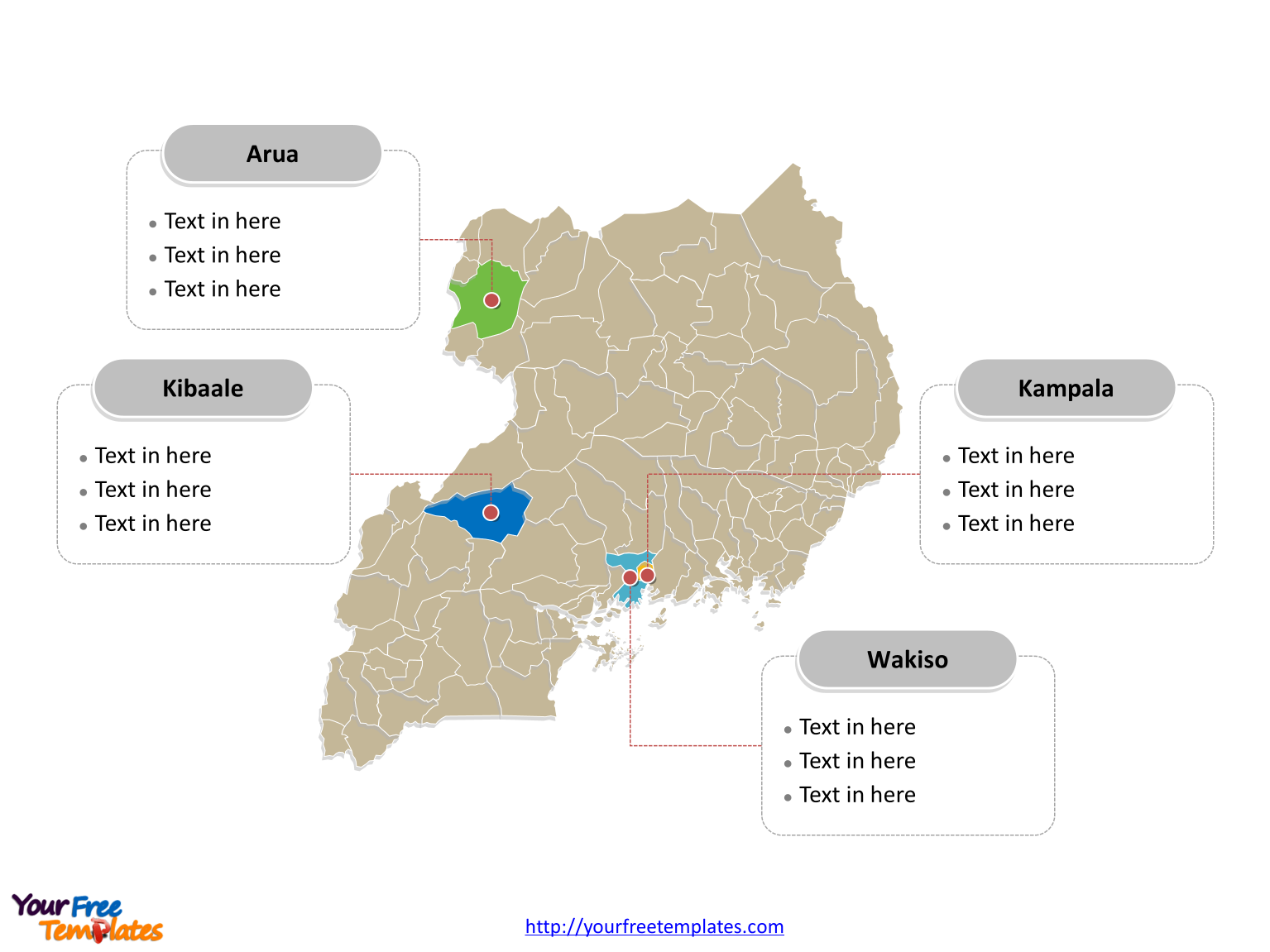 Free Uganda Map Template Free PowerPoint Templates - Uganda map