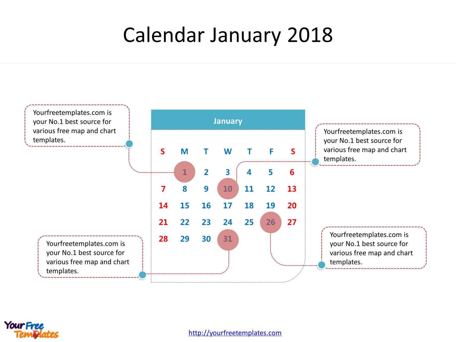 calendar 2018 with dates of one month in it