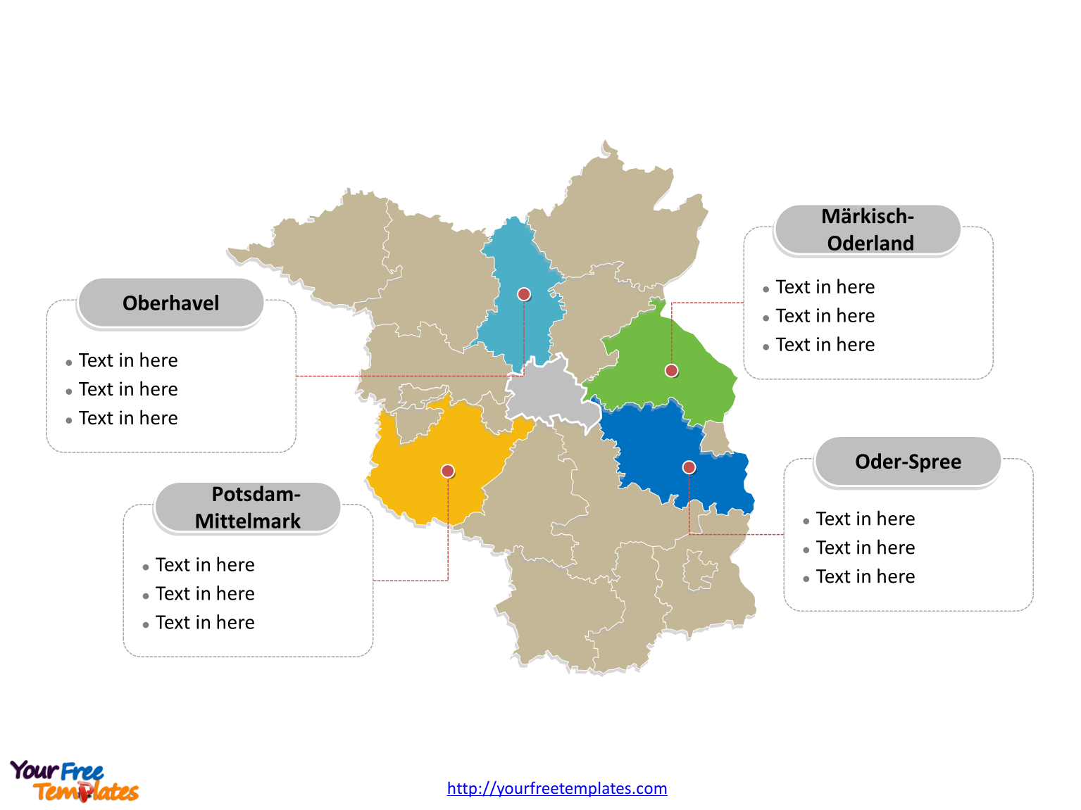 Free downloads of Brandenburg Map labeled with major political districts