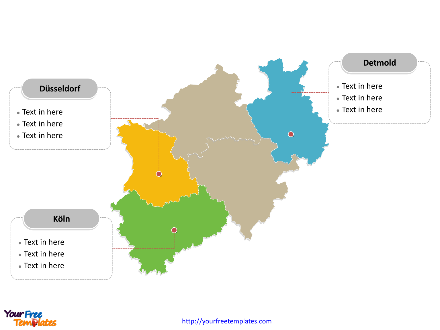 North Rhine-Westphalia map PowerPoint templates labeled with major political regions