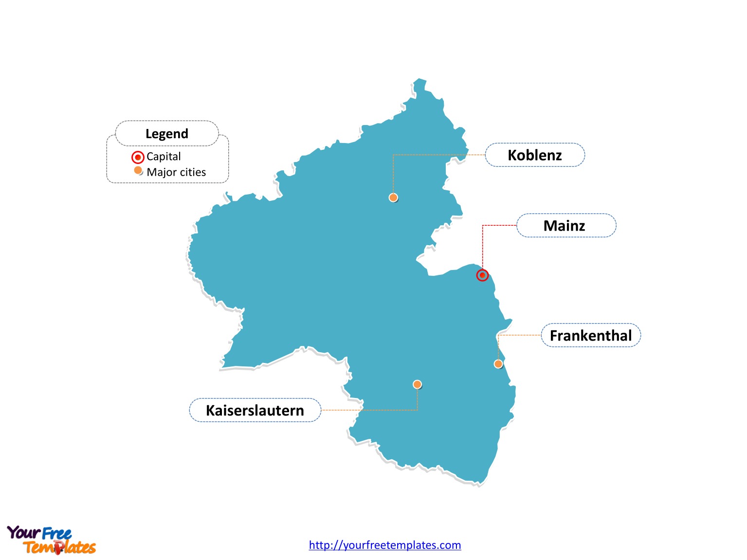 Rhineland-Palatinate Map download labeled with cities