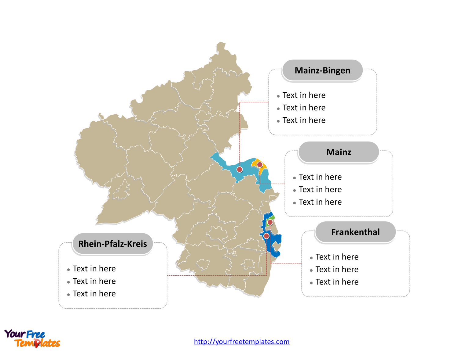 Rhineland-Palatinate Map download labeled with major political districts