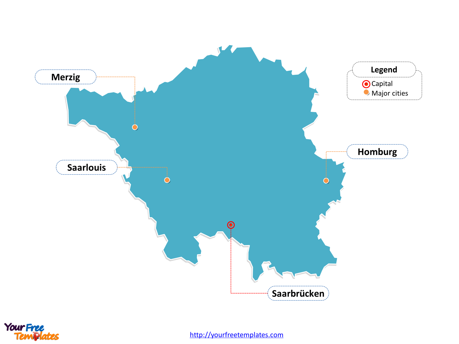 Powerpoint template of Saarland Map labeled with cities