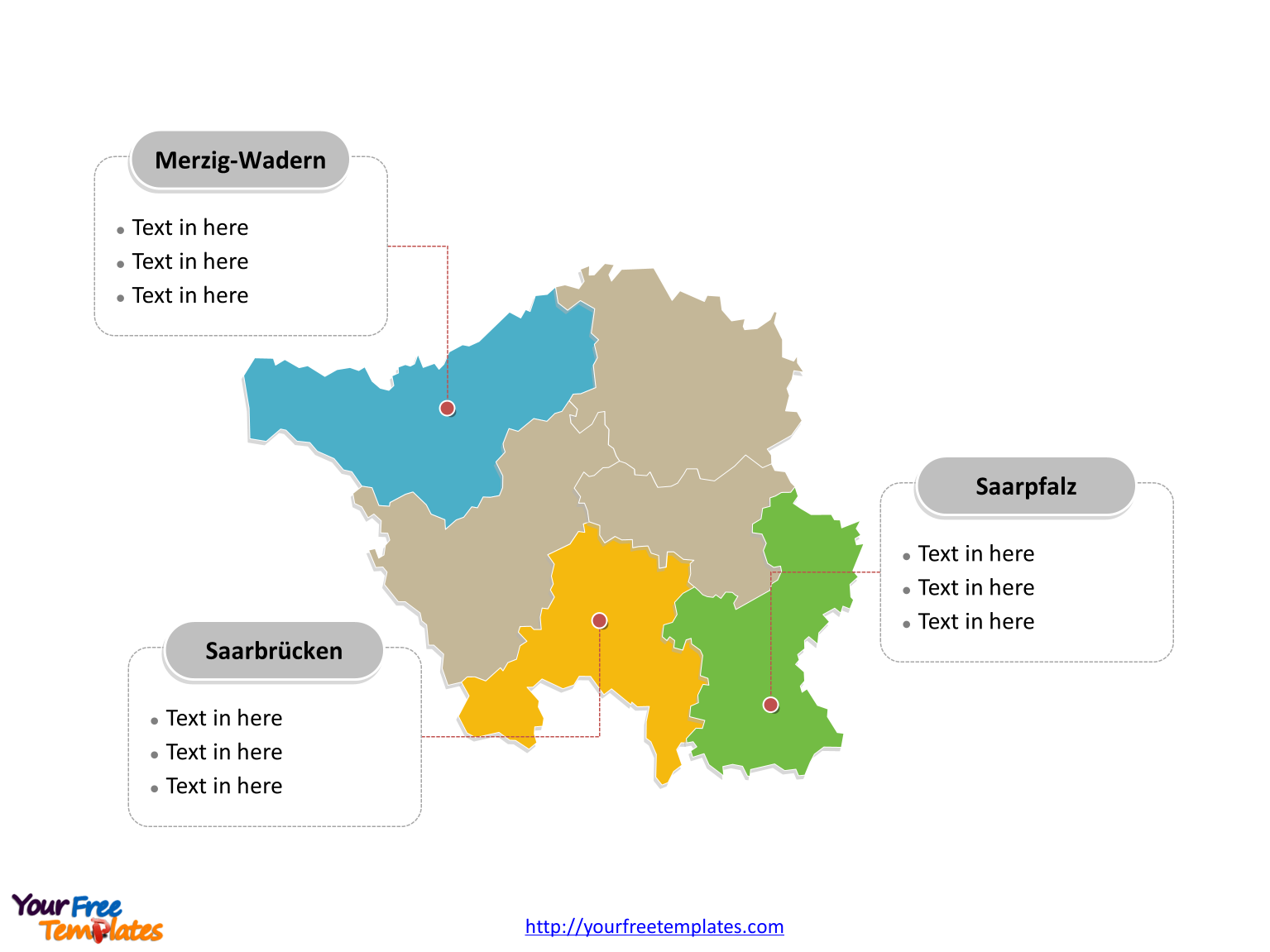 Powerpoint template of Saarland Map labeled with major political districts